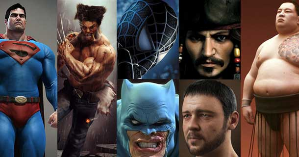 Superhero, Movies and Sports Characters in 3DS Max