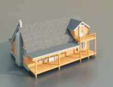 Wooden houses free 3d model