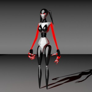 Woman Monster Robot 3d rigged model free