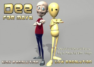dee maya rigged model free 300x213 125 Free 3D Rigged Funny Cartoon Character Models