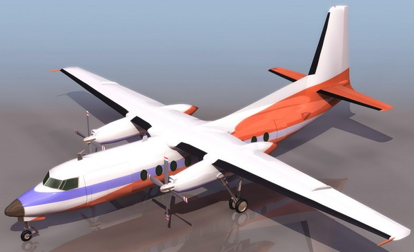 Fokker 27 turboprop airliner 3d model