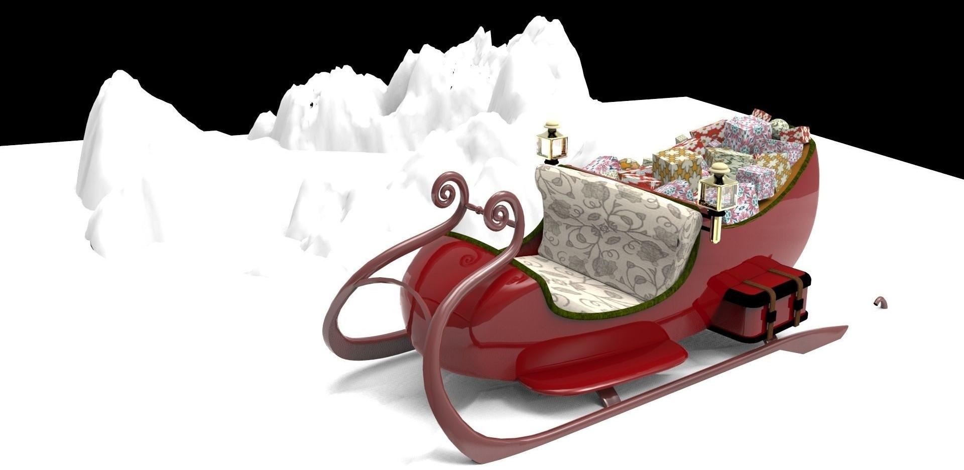 santa_sleigh_3d_model_free