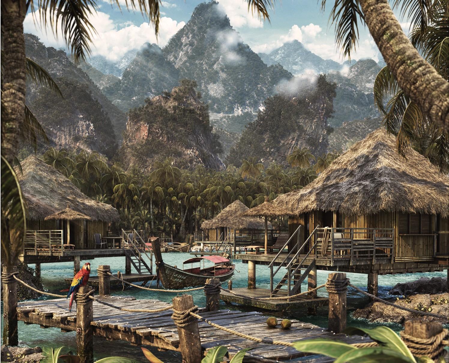 Coconut bay scene 3d model rockthe3d