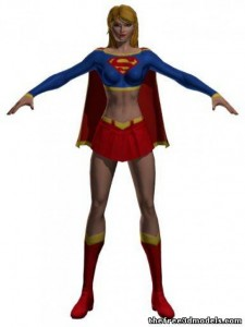 Supergirl-3d-model-free-rigged