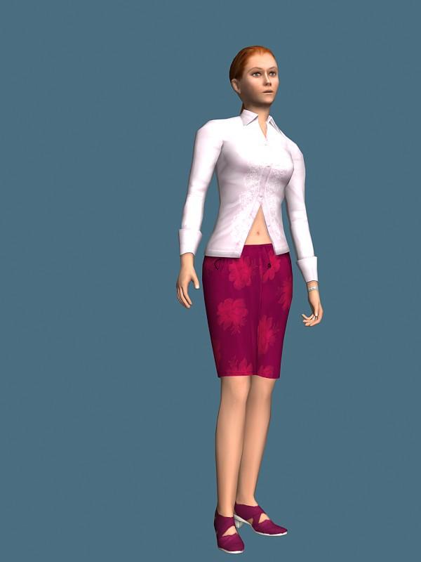 Elegant girl rigged 3d model free