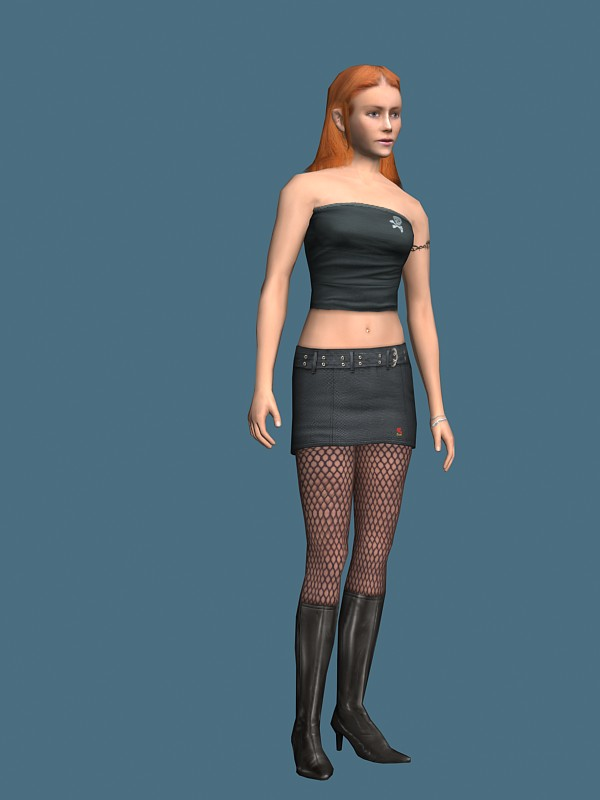 Hot girl in tube top 3d model free
