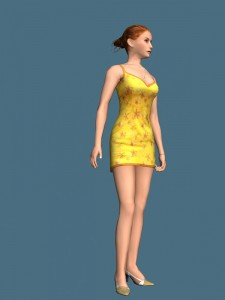 Hot girl standing rigged 3d model free