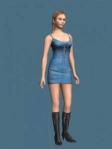 Young girl standing rigged 3d model free